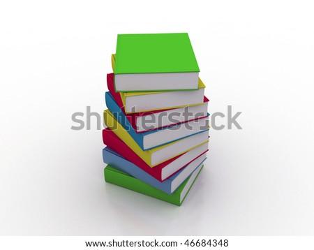 Pile of books - multi colored - stock photo