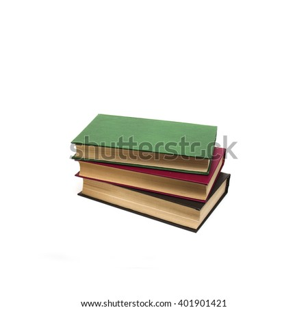 Pile of books on a white background  - stock photo
