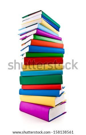 Pile of books on white background  - stock photo
