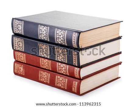 pile of books on white background isolated