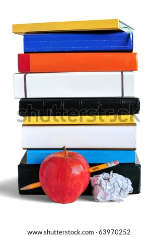 Pile of books, pencil, paper and an apple representing education or school. - stock photo