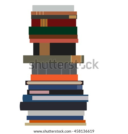 Pile of books raster isolated. Stack of books. Book spine. Literature - stock photo