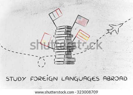 pile of books with flags and airplane flying in the background, studying foreign languages abroad - stock photo