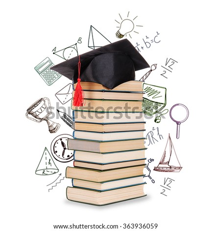 Pile of books with grad hat and vector images, isolated on white - stock photo