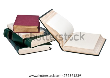 Pile of books with the exposed book isolated on a white background - stock photo