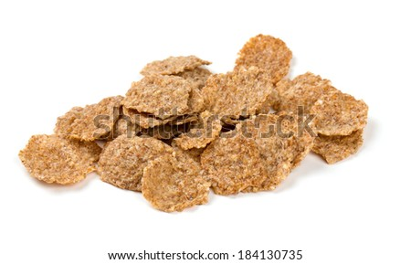 pile of bran flakes isolated on white