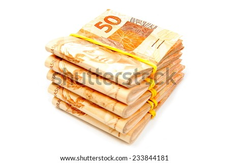 Pile of Brazilian 50 currency . - stock photo