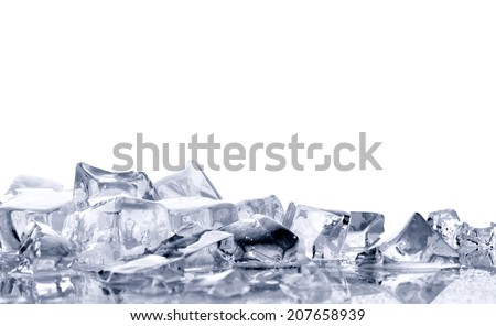 pile of  bright ice cubes on reflection surface on  white background - stock photo