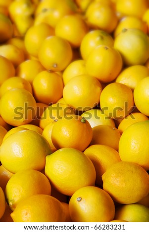Pile of bright yellow Meyers lemons at the farmers market - stock photo