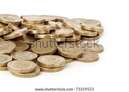 pile of british pounds isolated on white background - stock photo