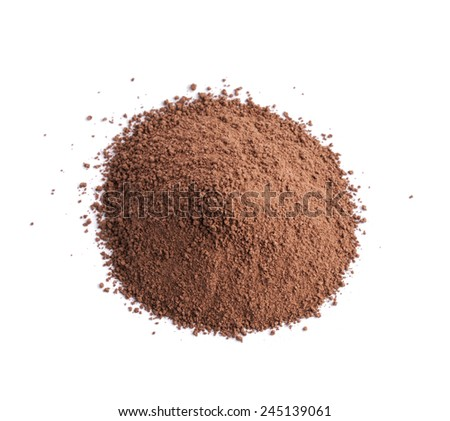 Pile of brown cocoa powder, composition isolated over the white background