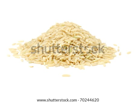 PILE OF BROWN RICE ISOLATED ON WHITE BACKGROUND - stock photo