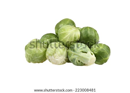 Pile of brussels sprouts isolated on white background - stock photo