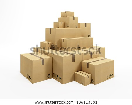 pile of cardboard box, 3d render - stock photo