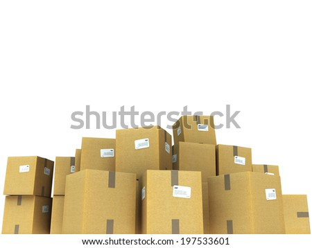 Pile of cardboard boxes ideal for inserting your own message - stock photo