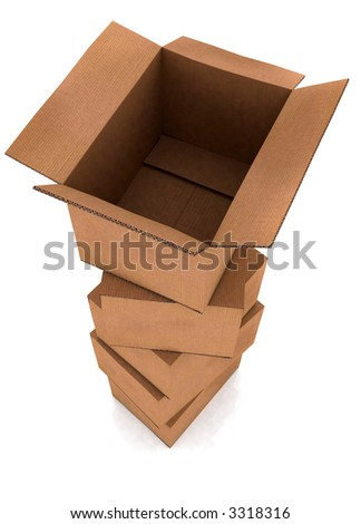 pile of cardboard boxes in high detail with the top one open - isolated over a white background - stock photo