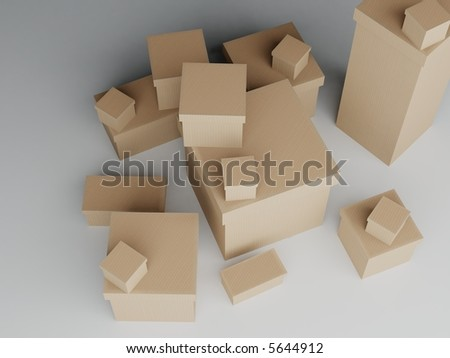 Pile of cardboard boxes of varying sizes from above