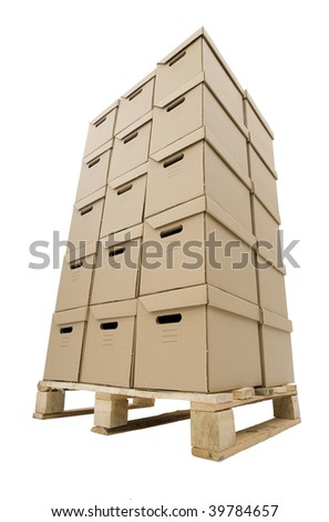 pile of cardboard boxes put in tower on wooden palette in parallelogram - 2 boxes on 3, height 4 boxes - stock photo