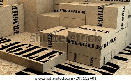 Pile of cardboard boxes with fragile sign ready to be shipped.