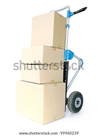 Pile of cardboard parcels loaded on hand truck on white background - stock photo