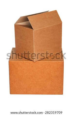 Pile of cartons isolated on white - stock photo