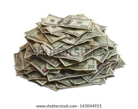 Pile Of Cash Isolated On White Background. - stock photo