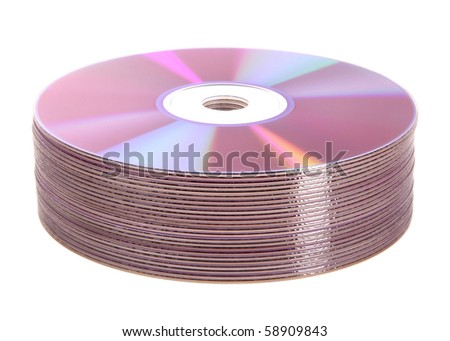 pile of cd and dvd discs, computers - stock photo