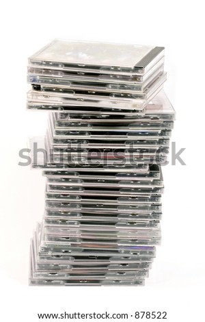 Pile of CDs  isolated on white background