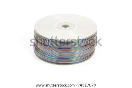 Pile of CDs or DVDs or Blu Ray discs - stock photo