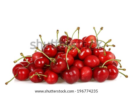 pile of cherries isolated on white