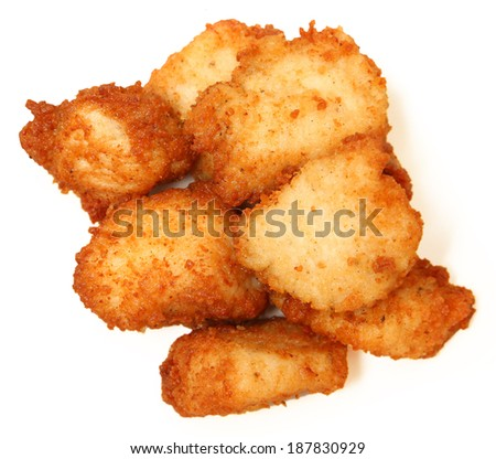 Pile of Chicken Nuggets Isolated On White, High Angle View - stock photo