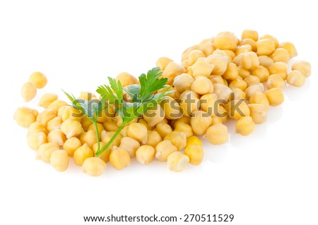 Pile of chickpeas against white background - stock photo