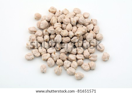 Pile of chickpeas  isolated on white background