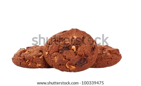 Pile of chocolate chip cookies isolated on white background - stock photo