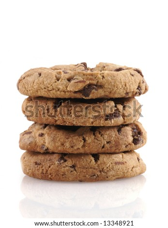 Pile of chocolate cookies on a white background. - stock photo