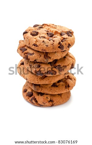 Pile of chocolate cookies on white background - stock photo