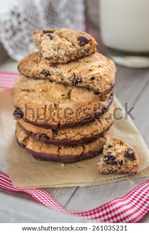 Pile of chocolate cookies with a glass of milk