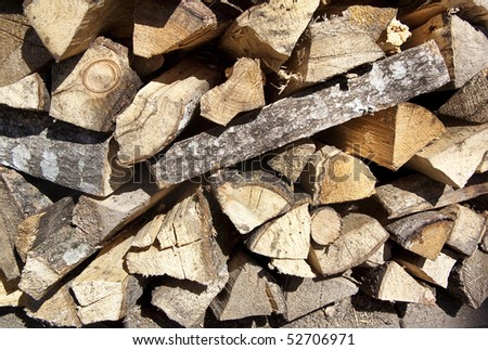 Pile of chopped firewood - a background of wood stock - stock photo