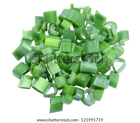Pile of chopped green onion isolated on white background - stock photo