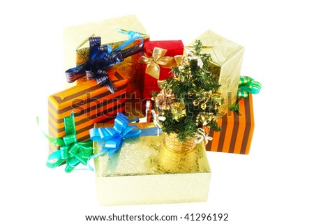 Pile of Christmas and New Year gift box with basket. Isolated over white background