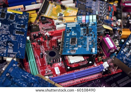 Pile of circuit boards for plastic and metal recycling - stock photo