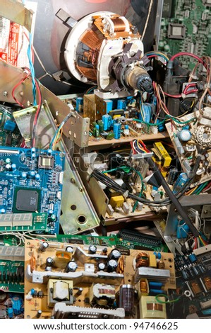 Pile of circuit boards, many old electronics