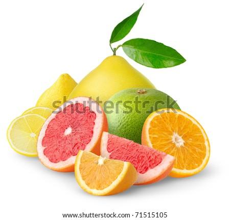 Pile of citrus fruits isolated on white - stock photo