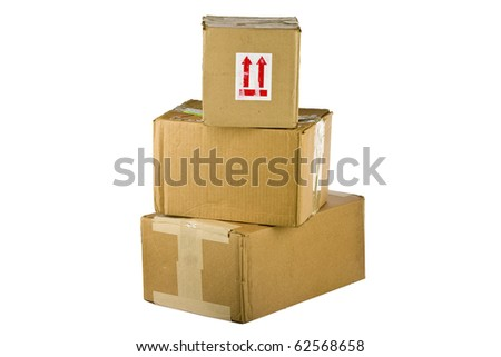 Pile of closed cardboard boxes on white background - stock photo
