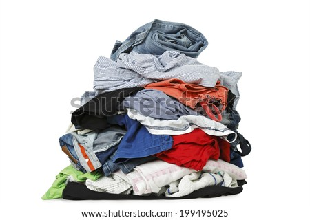 pile of clothes isolated on white - stock photo