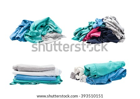 Pile of clothes  isolated on white background - stock photo