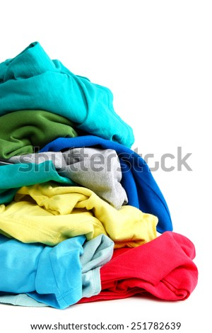 Pile of clothes washing isolated on white background. - stock photo