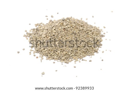 Pile of Clumping Cat Litter Isolated on White Background