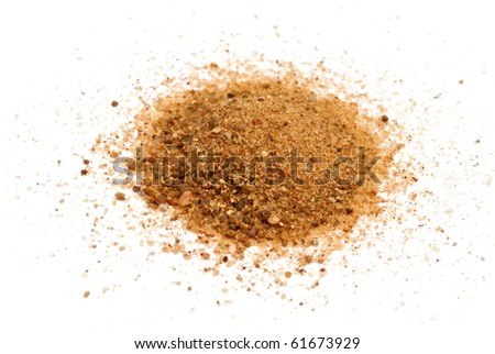Pile of coarse sand isolated on white - stock photo