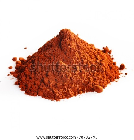 Pile of cocoa powder isolated on white - stock photo
